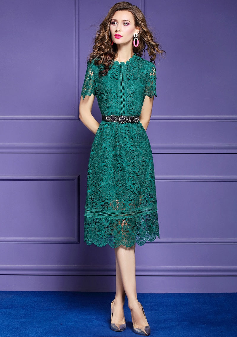Women Summer Elegant Lace Dress Color Green