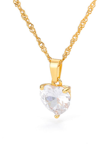 Heart Necklaces For Women Stainless Steel Gold Chain Zircon Heart Pendant