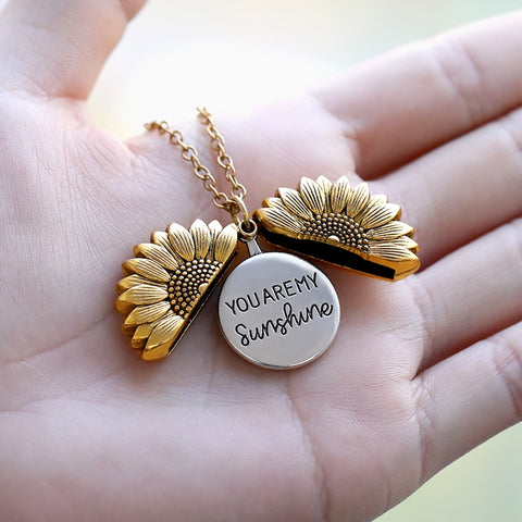 Sunflower Necklaces For Women Stainless Steel Open Locket You are My Sunshine Sunflower