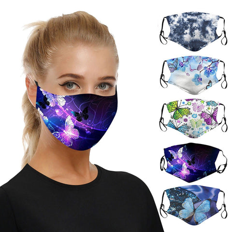 Adjustable Butterfly Print Polyester Mask Reusable Colorful Fabric Face Turban Stylish Fashionable Washable Mask