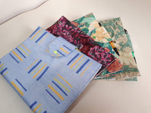 Load image into Gallery viewer, Fabric Reusable Exercise Book Cover in Blue Green and Yellow Stripe with Pen Holder