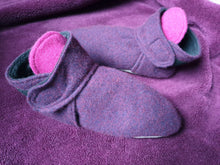 Load image into Gallery viewer, Purple Hues Cashmere House Slippers. Non Slip Sole and Polar Fleece Lining. Velcro Fastening