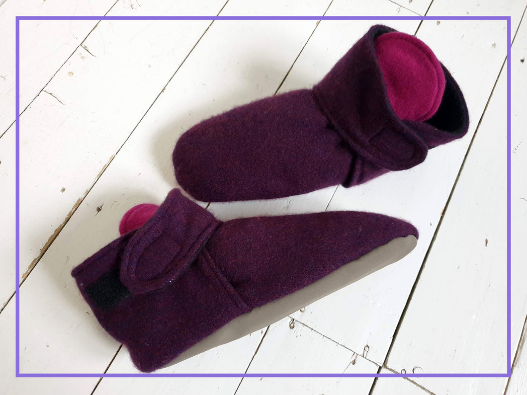 Purple Hues Cashmere House Slippers. Non Slip Sole and Polar Fleece Lining. Velcro Fastening