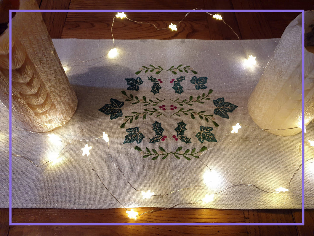 Christmas Embroidered Table Runner in Classic Festive Leaves Design,Machine Embroidered on Linen - Look Sparkly Lurex Silver Fabric 30x180cm