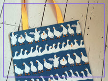 Load image into Gallery viewer, Duck / goose pattern cotton canvas fabric tote bag. French seam finish. Yellow cotton webbing straps.