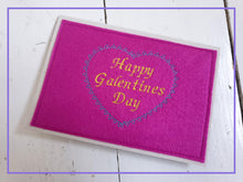 Load image into Gallery viewer, Hot Pink Galentines Day Embroidered Greetings Card with Heart Design. Stitched onto 100% recycled card.