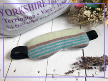 Load image into Gallery viewer, Cashmere Lavender Eye Mask with Bamboo Lining. Filled Eye Mask With Yorkshire Lavender and Rice In a Green Blue and Grey Striped Design.