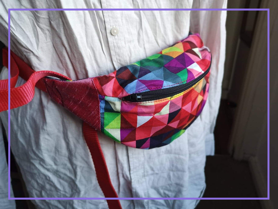 Rainbow Triangles Cotton Bumbag with Bright Red Strap