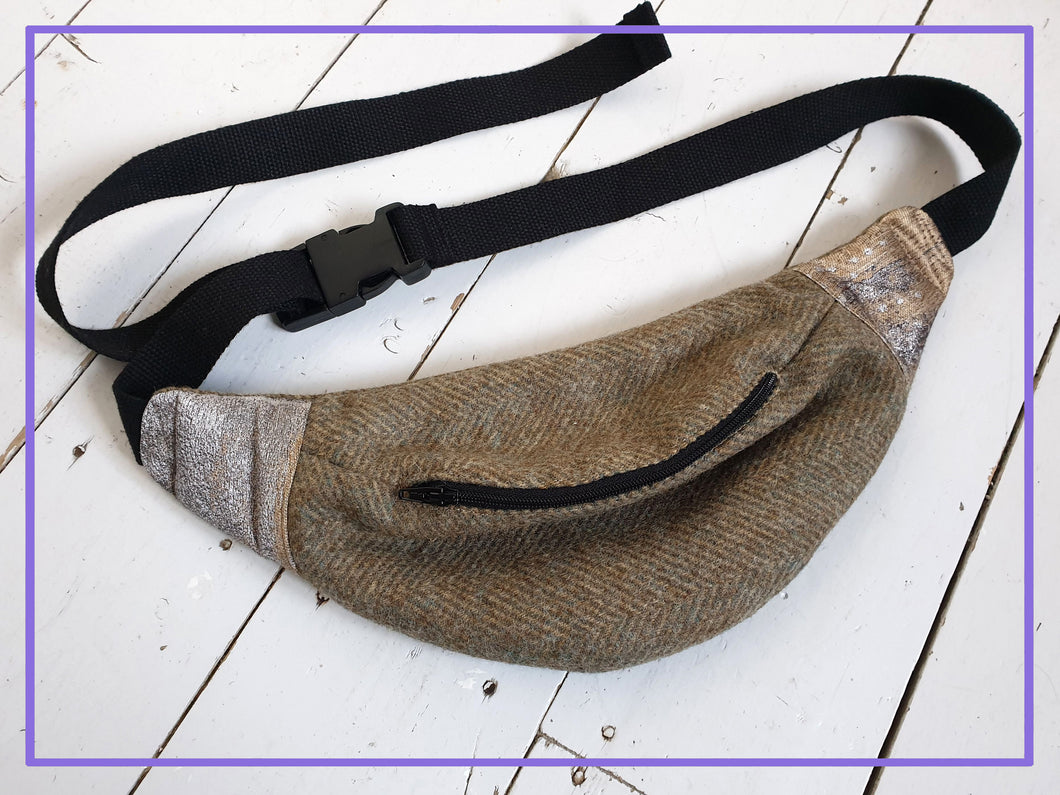 100% Wool Tweed Bumbag with Metallic Accents and Black strap