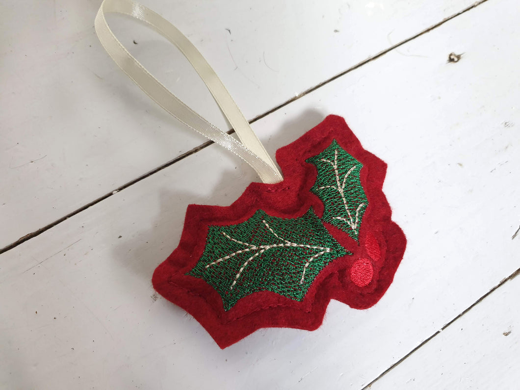 Felt 3D Embroidered Festive Christmas Decoration With Satin Hanging Ribbon