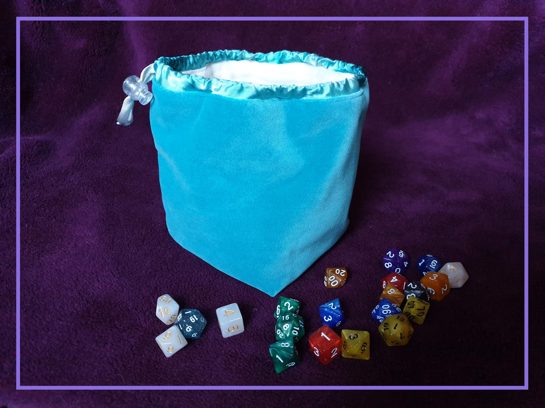 Luxury Blue Velvet Dice Bag Lined with Soft Fleece Flat Bottomed Large