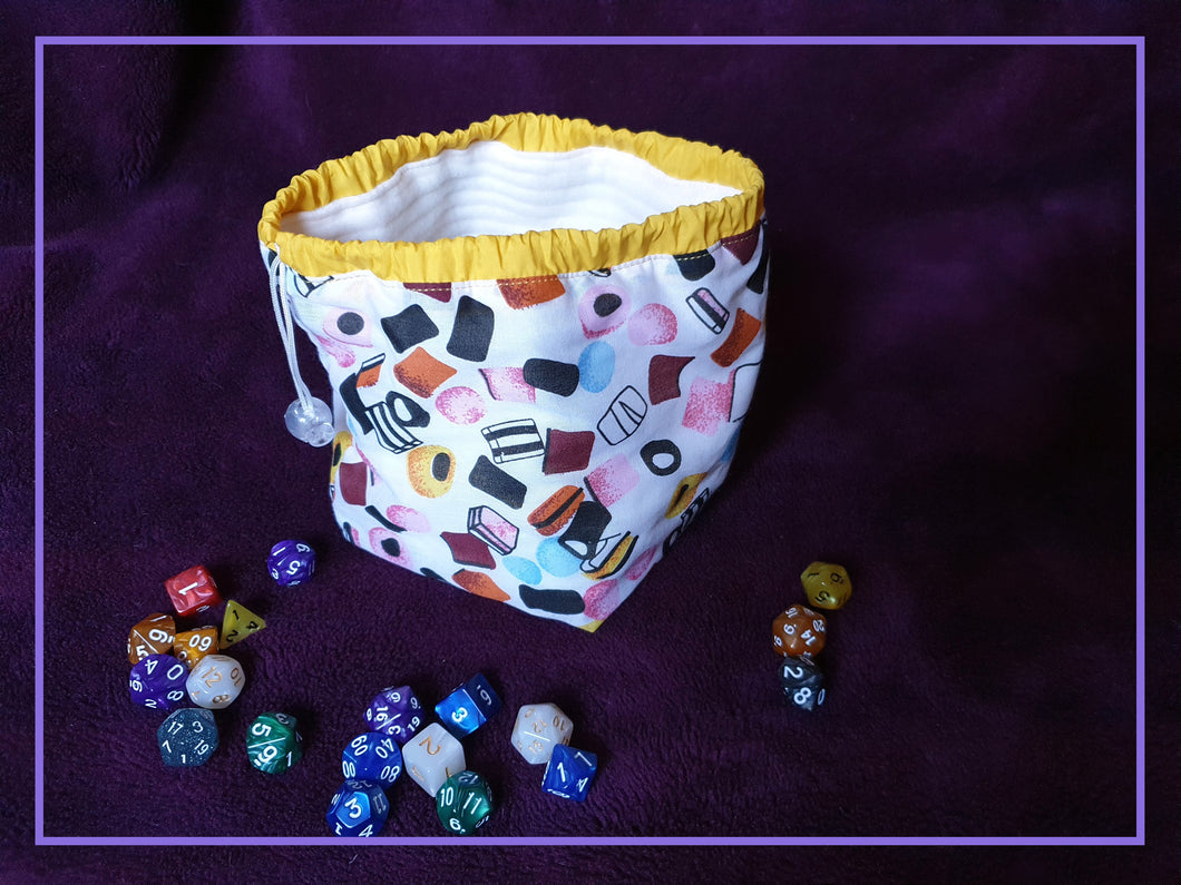 Liquorice Allsorts Cotton Dice Bag Line with Soft Fleece Flat Bottomed Large