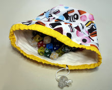 Load image into Gallery viewer, Liquorice Allsorts Cotton Dice Bag Line with Soft Fleece Flat Bottomed Large