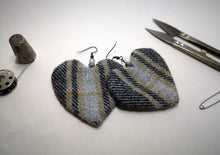 Load image into Gallery viewer, 100% Wool Tweed Handmade Heart Shaped Grey Drop Statement Earrings