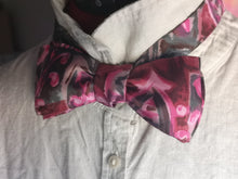 Load image into Gallery viewer, Self tie bow tie in pink, red and black abstract vintage silky fabric