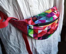 Load image into Gallery viewer, Rainbow Triangles Cotton Bumbag with Bright Red Strap