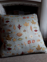 Load image into Gallery viewer, Large 87cm Cushion in light teal, autumnal leaves pattern top and dark mottled brown underside with zip and hollowfibre inner. Floor Cushion