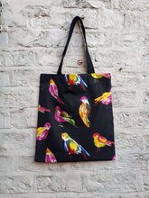 Load image into Gallery viewer, Water Bottle Pocket Tote Bag in a Rainbow Bird Design. Canvas Fabric Tote Bag with Small Velcro Phone or Wallet Pocket at Top. Cotton Webbing Straps