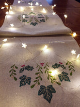 Load image into Gallery viewer, Christmas Embroidered Table Runner in Classic Festive Leaves Design,Machine Embroidered on Linen - Look Sparkly Lurex Silver Fabric 30x180cm