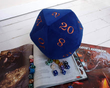 Load image into Gallery viewer, Deluxe Velvet D20 Dice. Deluxe giant dice in a royal cobalt blue velvet fabric and embroidered with metallic copper coloured numbers.