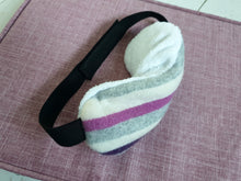 Load image into Gallery viewer, Cashmere Lavender Eye Mask with Bamboo Lining. Filled Eye Mask With Yorkshire Lavender and Rice In a purple grey and pink striped design.
