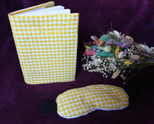 Load image into Gallery viewer, Lavender Eye Mask and Journal Set in a Yellow Check Cotton Fabric