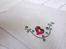 Load image into Gallery viewer, Pair of Valentines Place Mat Embroidered with Lovebirds and String of Hearts Design, Machine Embroidered on Sparkly Lurex Linen Look Fabric