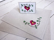 Load image into Gallery viewer, Lovebird Gift Set of Textile Embroidered Card in Cute Bird Design and Matching Pair of Table Settings, Place Mats