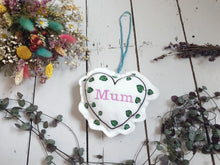 Load image into Gallery viewer, Lavender Mother's Day Hanging Embroidered Decoration. Contains Yorkshire Lavender Buds. Perfect Mother's Day Gift. Wall Ornament Home Decor