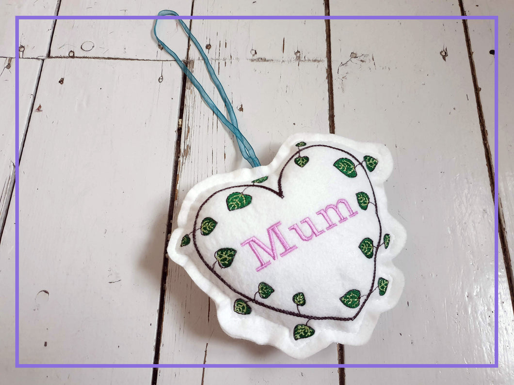 Lavender Mother's Day Hanging Embroidered Decoration. Contains Yorkshire Lavender Buds. Perfect Mother's Day Gift. Wall Ornament Home Decor