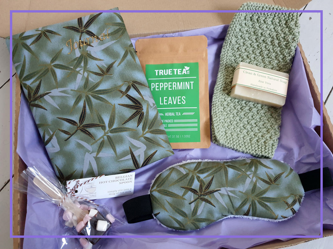 Recovery Gift Set - Care / Pamper Kit with Journal, Lavender Eye Mask, Hot Choc Stirrer, Tea, Soap and Hand Knit Cotton Washcloth