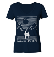 Lade das Bild in den Galerie-Viewer, Book in Progress white - Ladies Organic V-Neck Shirt