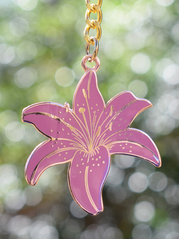 Dusty Pink Lily Keychain 1