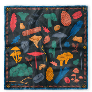 Let's Hike Silk Scarf Dark (Small)