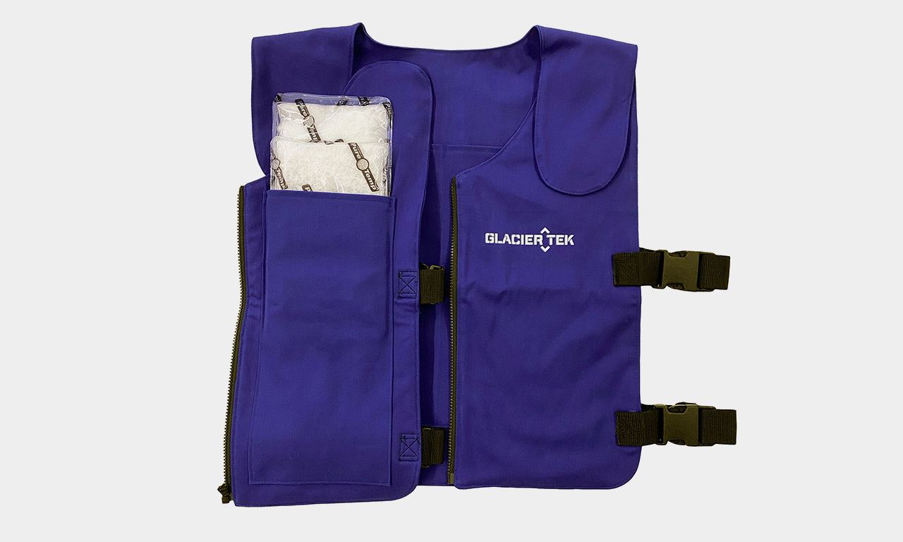Banox® FR3 Vest in Blue with flap open to show how GlacierPaks fit in the inside pocket
