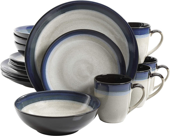 Reactive Glaze Stoneware Dinnerware Set, Service for Four (16pcs), Blue and Cream