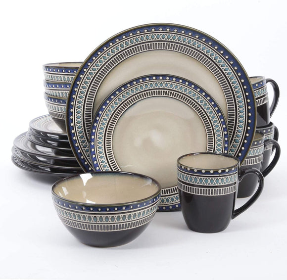 Amberdale Round Dinnerware Set, Service for 4 (16pcs), BlueBrown