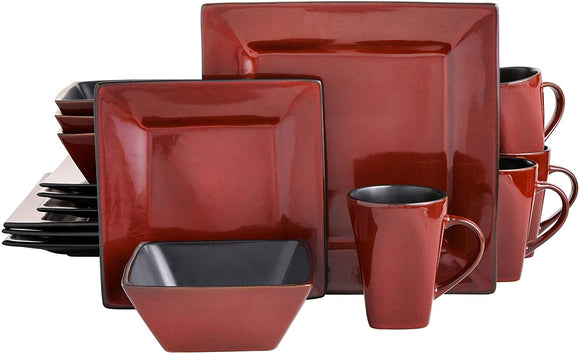 Kiesling 16 Piece Dinnerware Set, Red