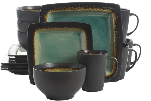 Ocean Paradise Square Dinnerware Set, Service for 4 (16pcs), Jade
