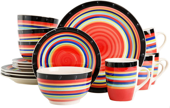Home Casa Stella Dinnerware Set, Red, 16-piece
