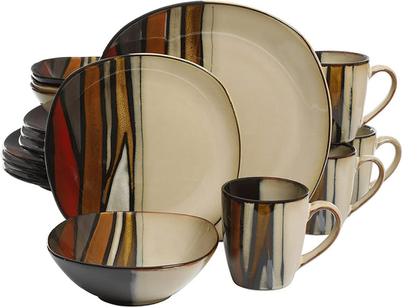 Overseas, Inc. Matrice Red, Dinnerware Set, Multi color
