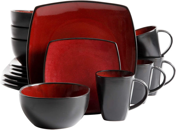 Soho Lounge 16-Piece Square Reactive Glaze Dinnerware Set, Red