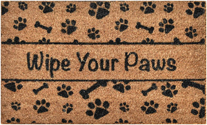 Woven Door Mat All Natural Coir - Extra Thick - 36 x 24 inch - Wipe Your Paws