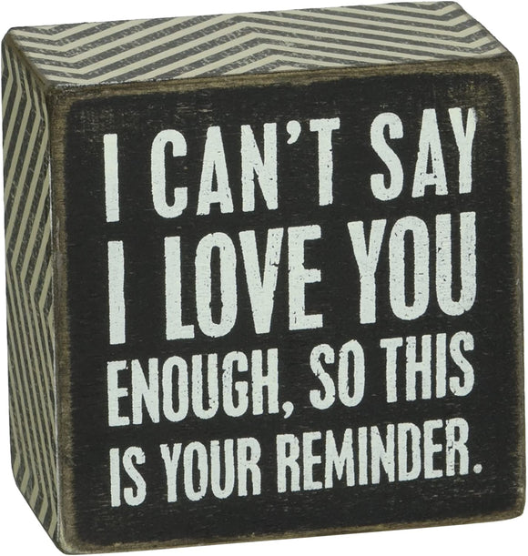 Chevron Trimmed Box Sign, 3 x 3-Inches, I Love You