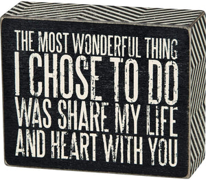 Chevron Trimmed Box Sign, 4 x 5-Inches, Share My Life