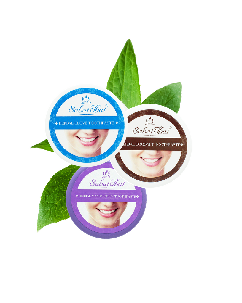 SABAI THAI Natural Clove, Mangosteen and Coconut Toothpaste Fluoride Free, 3x25g