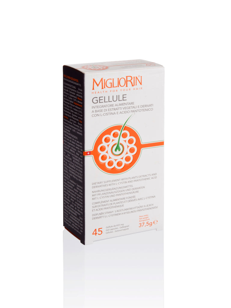 MIGLIORIN GELLULE 45 Dietary Supplement with Plants Extracts, L-Cystin and Pantothenic Acid for Beautiful Skin, Hair and Nails, 45x835mg