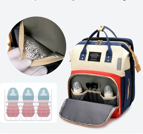 Babytasche Wickeltasche Baby Schlafunterlage USB Foldable & Removable Travel Bassinet Baby Crib Diaper Bag Infant Sleeper Nest with Mattress Nappy Changing ea-onlineshop
