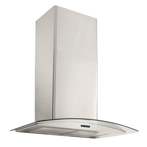 Broan 30-In. Convertible Wall Mount Curved Glass Chimney Range Hood with LED Light in Stainless Steel