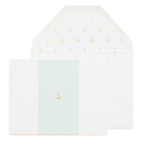 Sugar Paper Anchor on Blue Letterpress Notecards